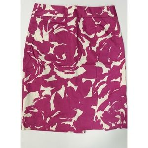 J. Crew Pencil Skirt- Pink & White Floral Pattern
